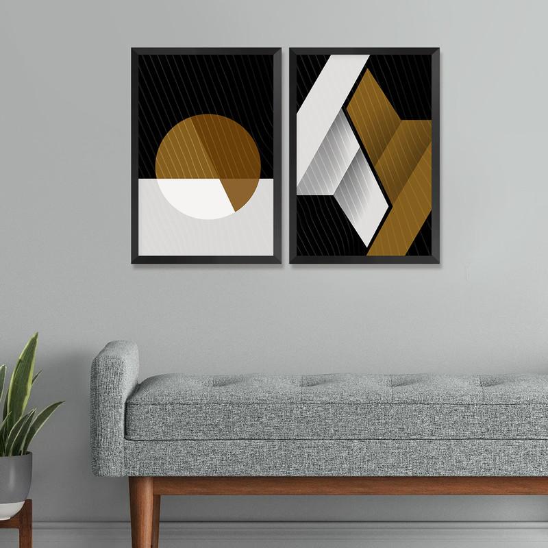 Kit 2 Quadros Decorativos Sala de Estar 30x40cm Geométrico Moderno Moldura Preta - Hugart