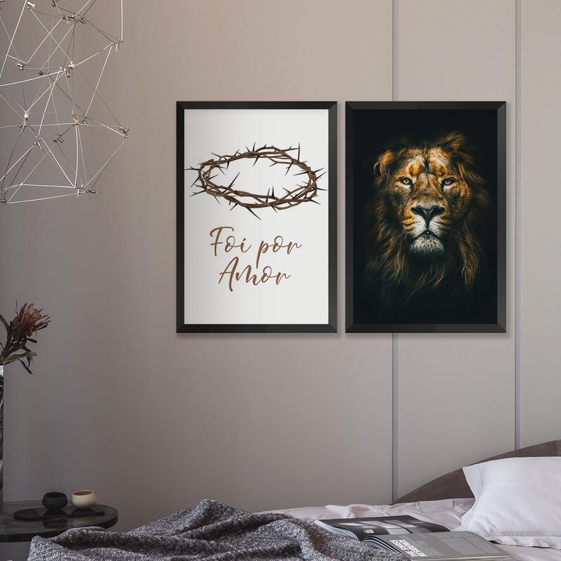 Kit 2 Quadros Decorativos Sala de Jantar 43x63cm Moldura Preta Frase Fé Amor Leão - Hugart
