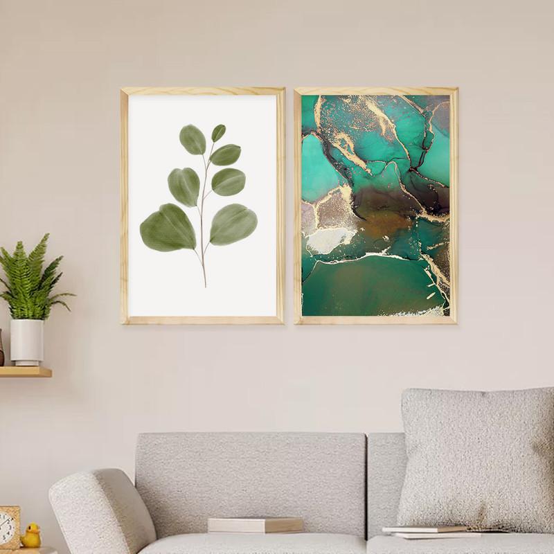 Kit 2 Quadros Decorativos Sala Estar 30x40cm Moldura Pinus Plantas Folhas Abstrato - Hugart