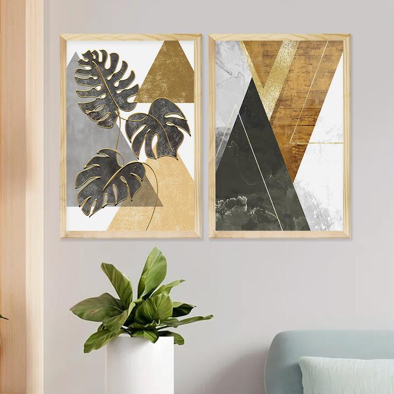 Kit 2 Quadros para Decoração Sala Escritório 43x63cm Moldura Pinus com Folhas Geométricas - Hugart