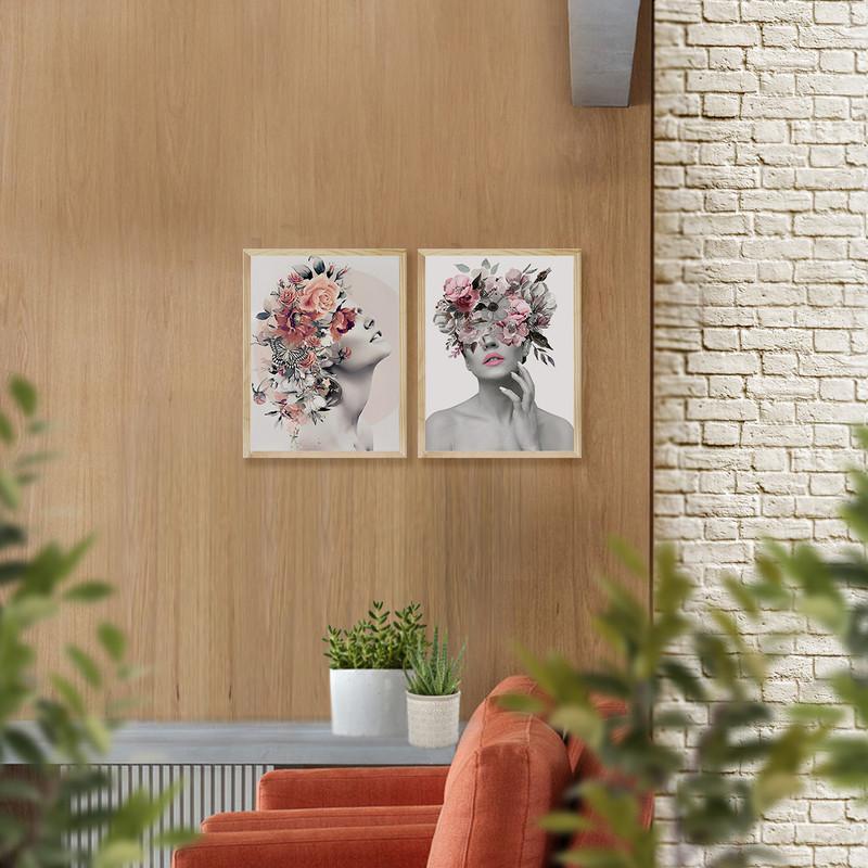 Kit 2 Quadros para Quarto de Casal 30x40cm Moldura Pinus Feminino Abstrato Surreal - Hugart