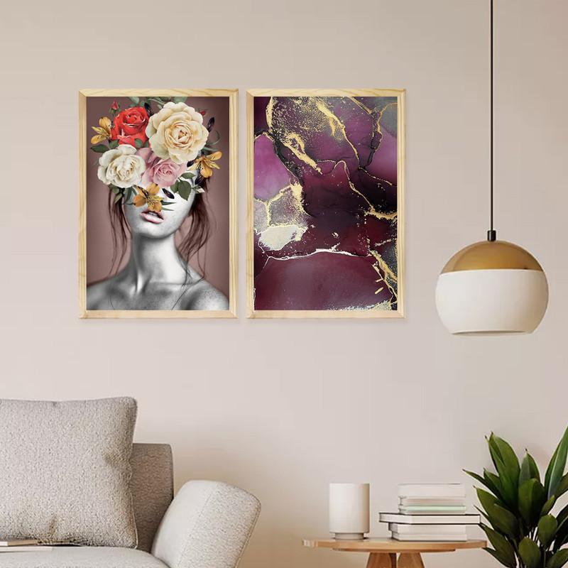 Kit 2 Quadros Pequenos Decorativos Ambiente Sala 30x40cm Feminino Flores Colorido - Hugart