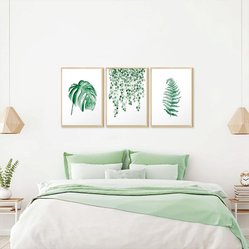 Kit 3 Quadro de Parede Decorativos para Quarto e Sala 30x40cm Folhagem e Plantas Verdes - Hugart