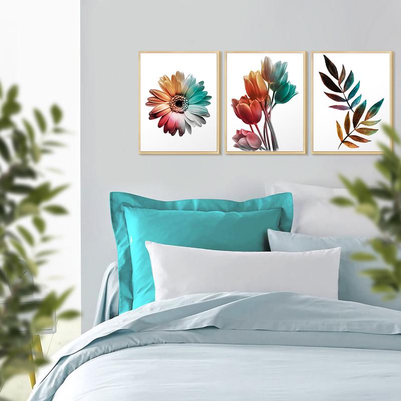 Kit 3 Quadro para Quarto Decorativo com Moldura Pinus 30x40cm Flores Coloridas - Hugart