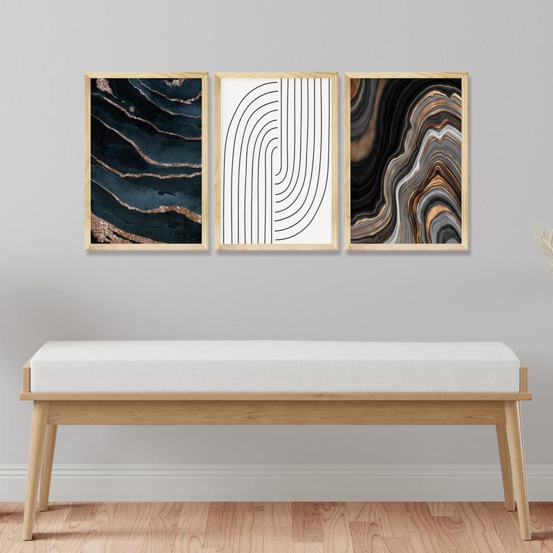 Kit 3 Quadros 30x40cm Decorativos para Sala com Moldura Pinus Abstrato Moderno - Hugart