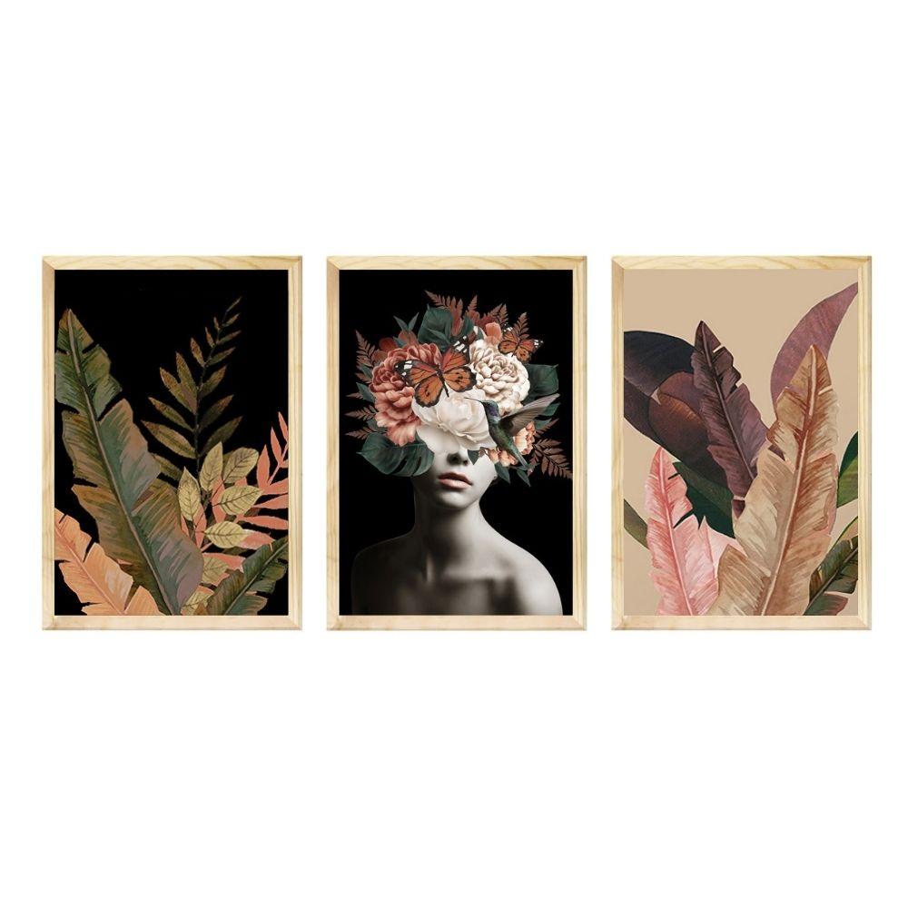 Kit 3 Quadros 50x70cm Decorativos Sala Mulher Flores Abstrato com Moldura - Hugart