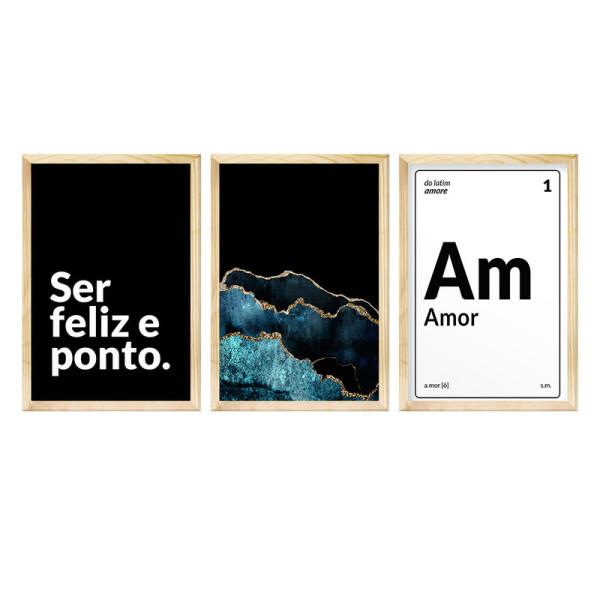 Kit 3 Quadros de Parede para Decoração de Sala 30x40cm Frases Família Amor Felicidade Preto - Hugart