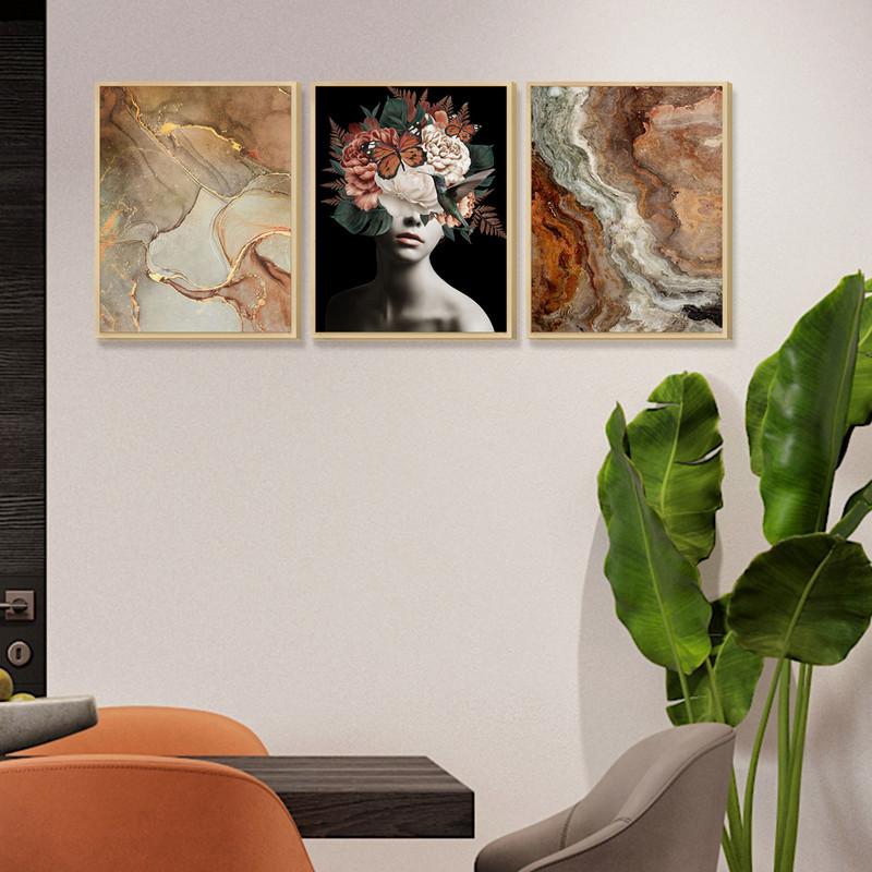 Kit 3 Quadros Decoração de Ambiente Sala Escritório 30x40cm Mulher Abstrato Moldura Caixa - Hugart