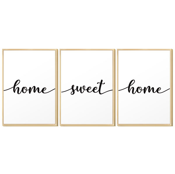 Kit 3 Quadros Decorativo 30x40 Cm Home Sweet Home Família Lar Sala Quartou - Hugart