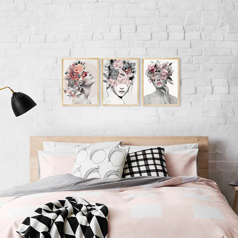 Kit 3 Quadros Decorativo Abstrato para Sala 30x40cm Mulher Surreal Floral - Hugart