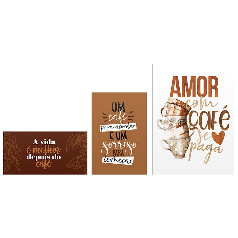 Kit 3 Quadros Decorativo Café Amor Frases