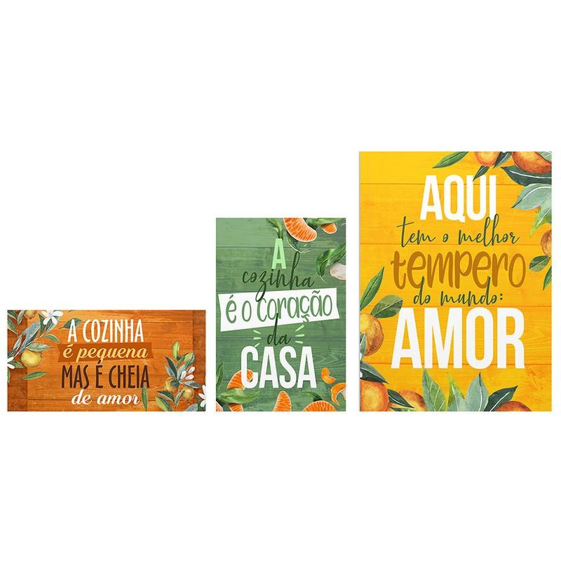 Kit 3 Quadros Decorativo Cozinha Tempero Amor