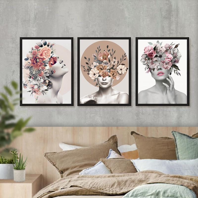 Kit 3 Quadros Decorativo de Moldura Preta 43x63cm Feminino Surreal Floral Quarto Abstrato - Hugart