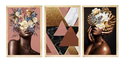 Kit 3 Quadros Decorativo Feminino Flores Moderno Quarto Sala
