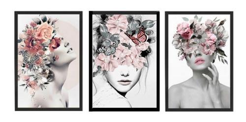 Kit 3 Quadros Decorativo Feminino Surreal Floral Quarto Sala