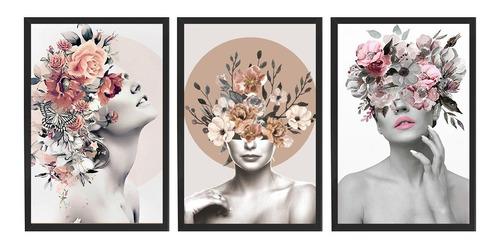 Kit 3 Quadros Decorativo Feminino Surreal Flores Quarto Sala