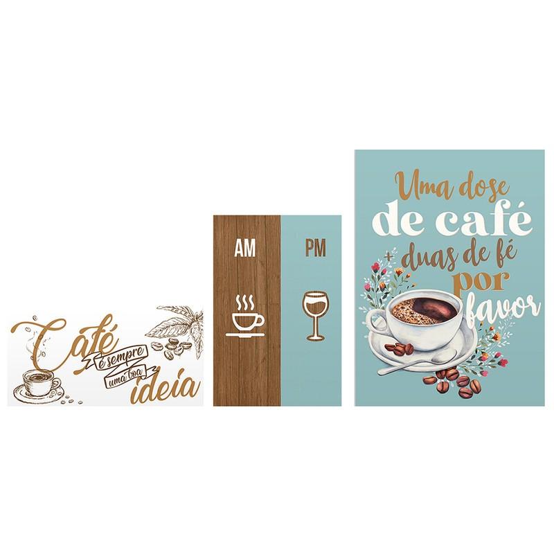 Kit 3 Quadros Decorativo Frases Café