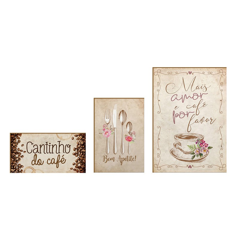 Kit 3 Quadros Decorativo Frases Cantinho do Café