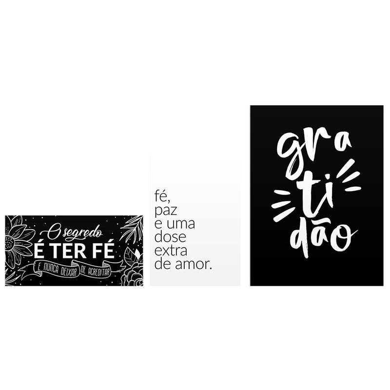 Kit 3 Quadros Decorativo Frases Gratidão e Fé
