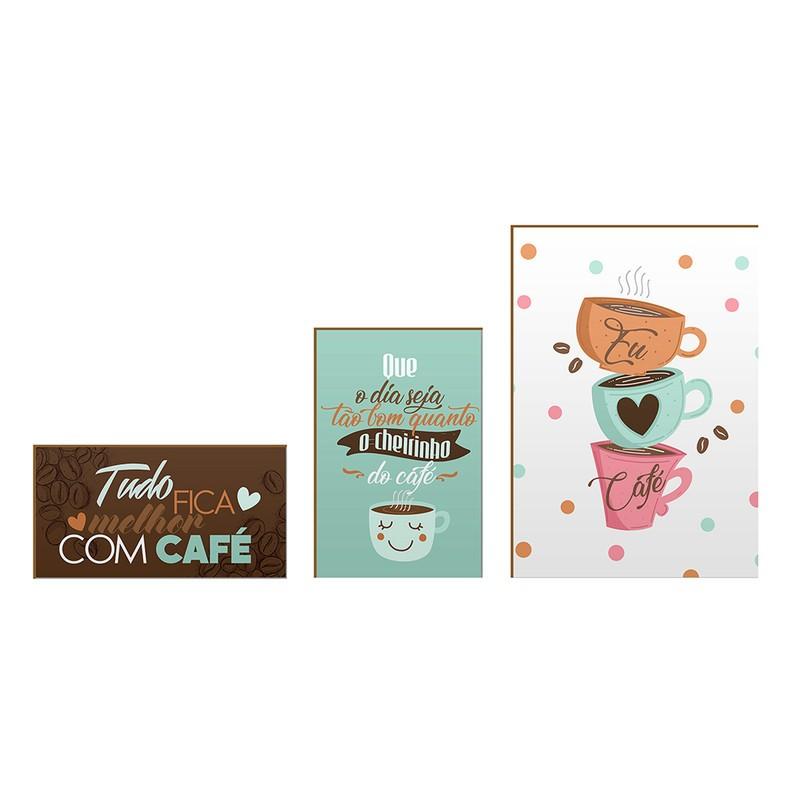 Kit 3 Quadros Decorativo Inspiração Café