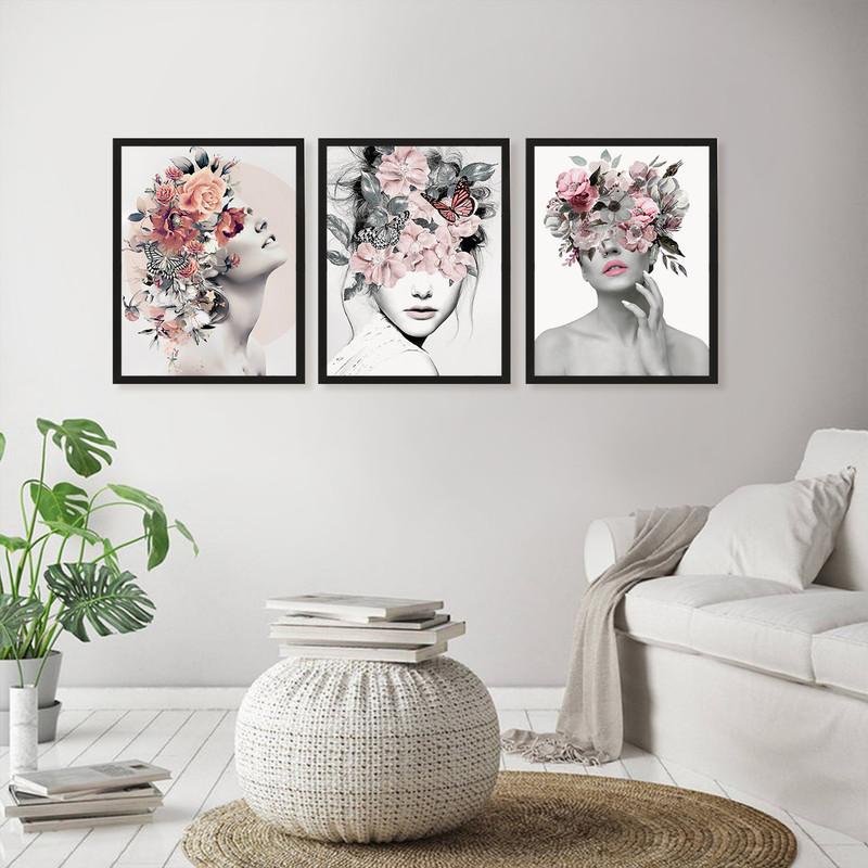 Kit 3 Quadros Decorativo Parede Quarto 43x63cm Mulher Surreal Flores Abstrato Moldura Preta - Hugart