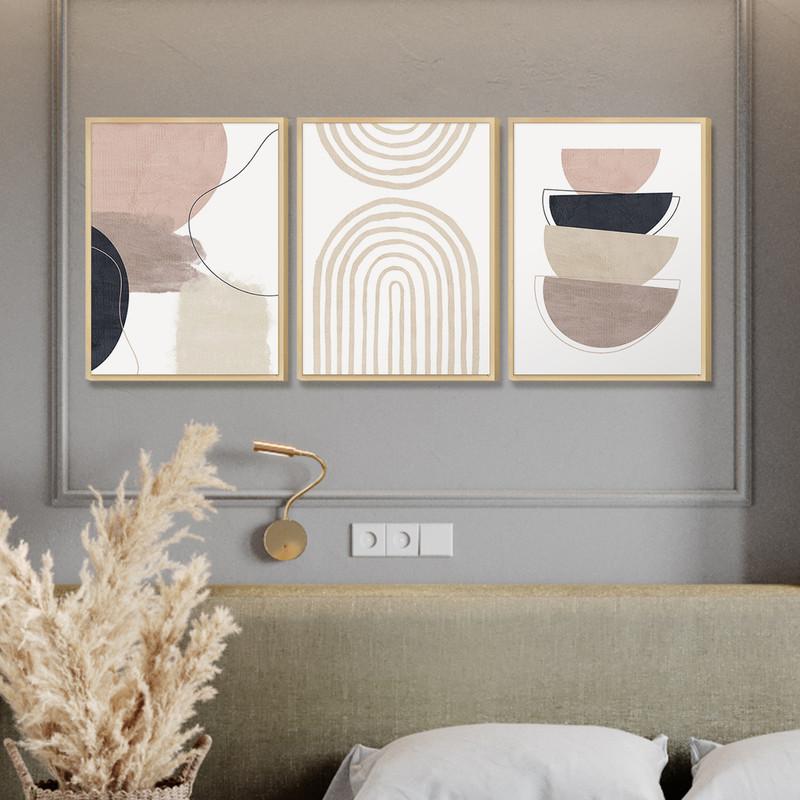 Kit 3 Quadros Decorativo Pequeno Escritório 30x40cm Moldura Caixa Pinus Geométrico Abstrato - Hugart