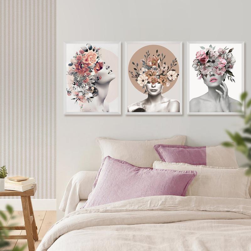 Kit 3 Quadros Decorativo Quarto de Casal 40x60cm Feminino Surreal Flores Moldura Branca - Hugart