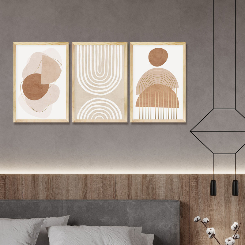 Kit 3 Quadros Decorativo Sala Ambiente 30x40cm Moldura Pinus Geométrico Minimalista Moderno - Hugart