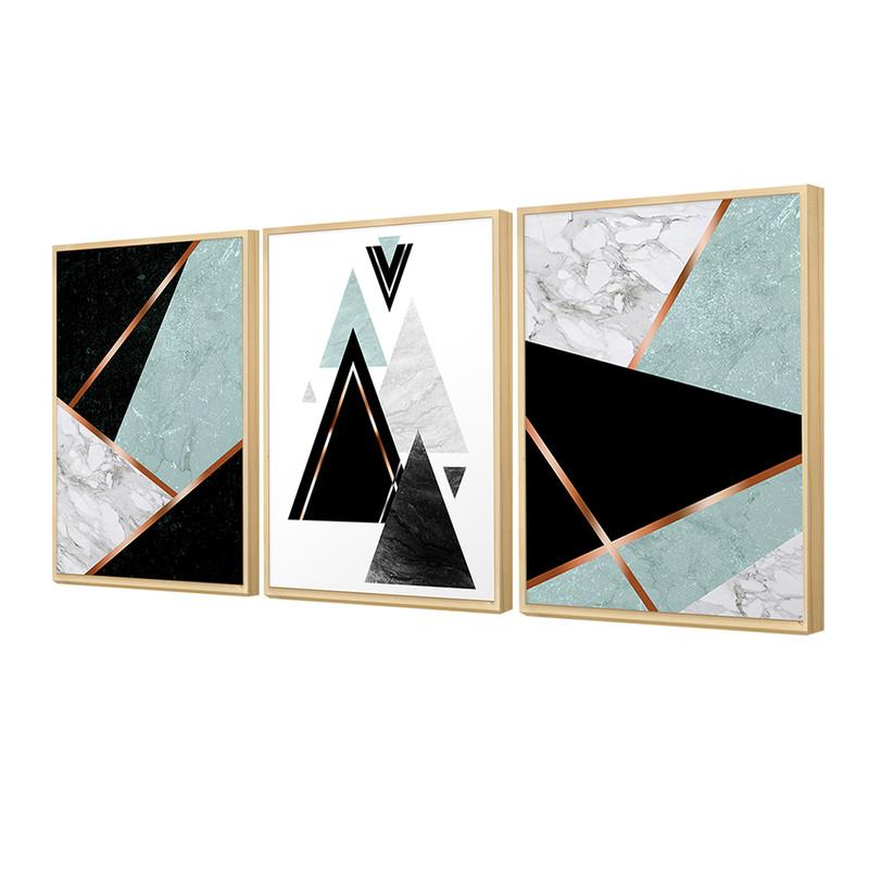 Kit 3 Quadros Decorativos 30x40cm para Sala Geométrico Azul e Preto Moldura Caixa em Pinus - Hugart