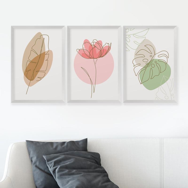Kit 3 Quadros Decorativos 43x63 Flores Folhagens Minimalista Sala com Moldura Branca- Hugart