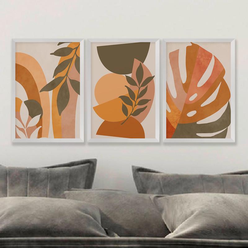 Kit 3 Quadros Decorativos 43x63 Folhas Folhagens Sala com Moldura Branca- Hugart