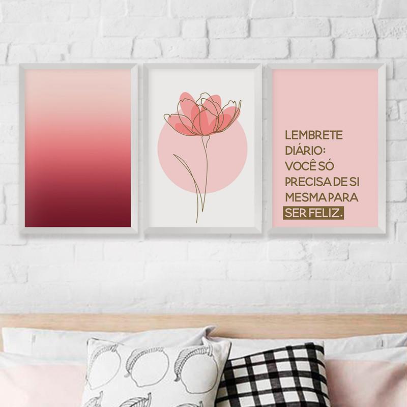 Kit 3 Quadros Decorativos 43x63 Frase Flor Felicidade Degradê com Moldura Branca- Hugart
