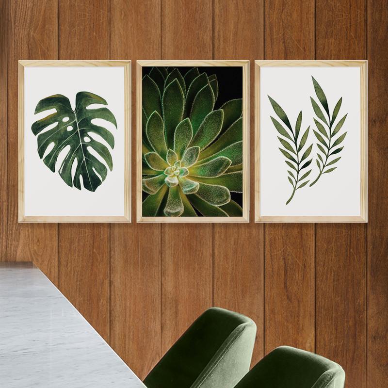 Kit 3 Quadros Decorativos 43x63 Plantas Folhagens Sala com Moldura - Hugart