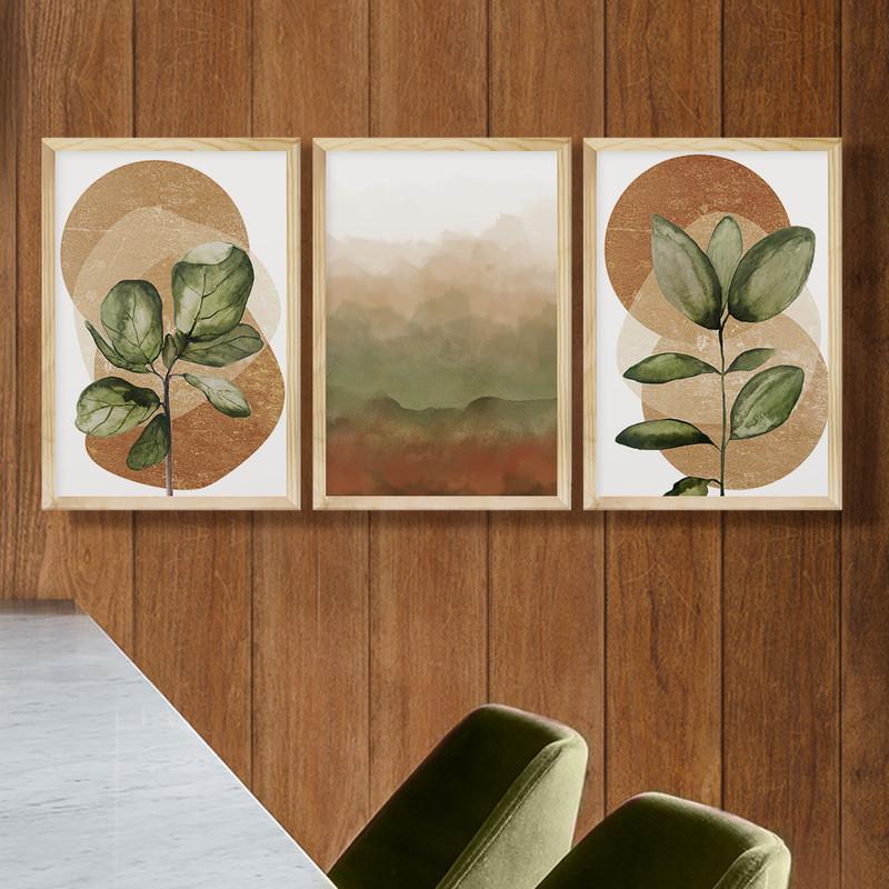 Kit 3 Quadros Decorativos 43x63 Plantas Formas Degradê Sala com Moldura - Hugart