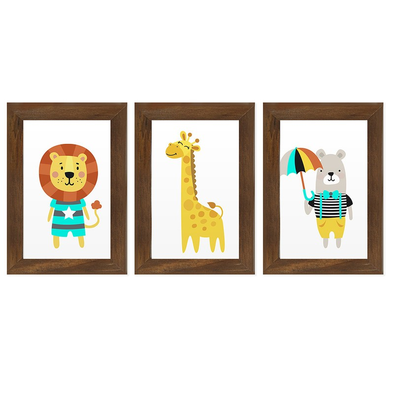 Kit 3 Quadros Decorativos Animais Fofos Infantil 13X18