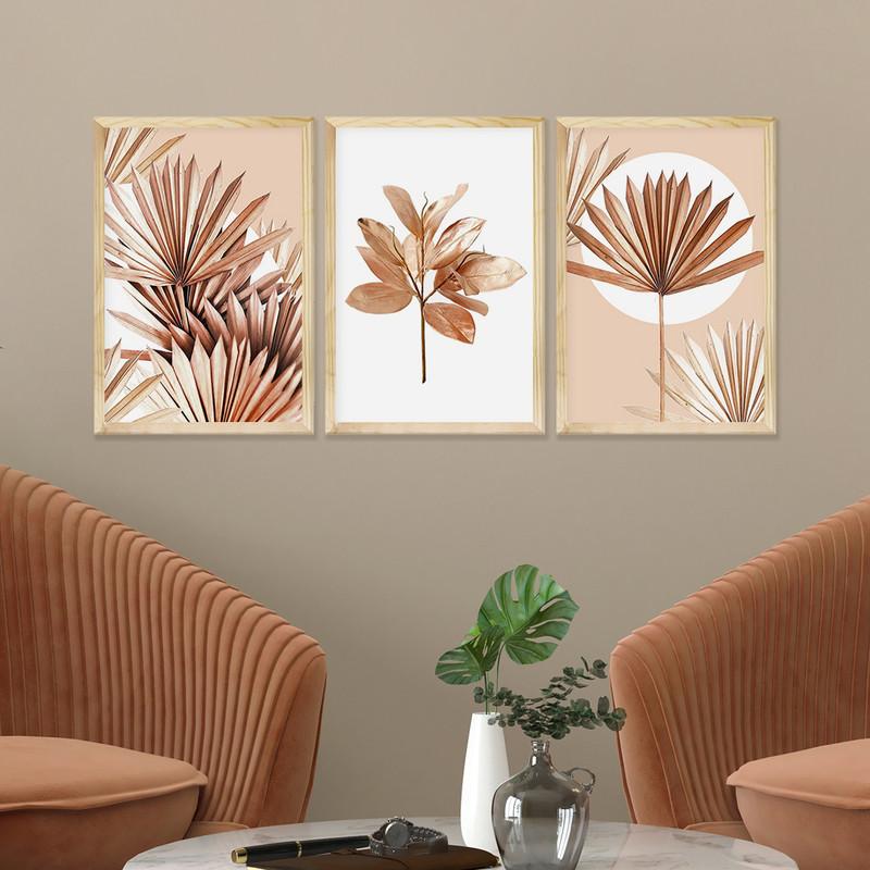 Kit 3 Quadros Decorativos Cozinha 33x43cm Moldura em Pinus com Plantas Folhagem Rose - Hugart
