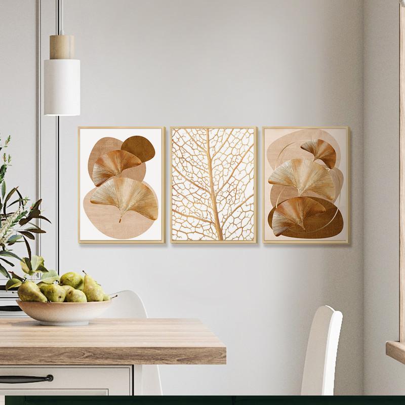Kit 3 Quadros Decorativos Delicados para Cozinha 30x40cm Moldura Caixa Folhas Tons Bege - Hugart