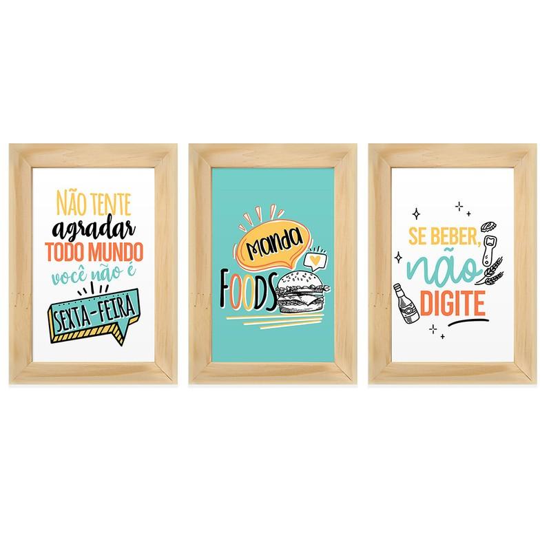 Kit 3 Quadros Decorativos Descontraído Frases Engraçado 13X18
