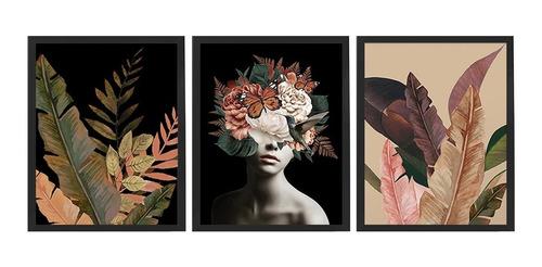 Kit 3 Quadros Decorativos Feminino Surreal Floral Abstrato