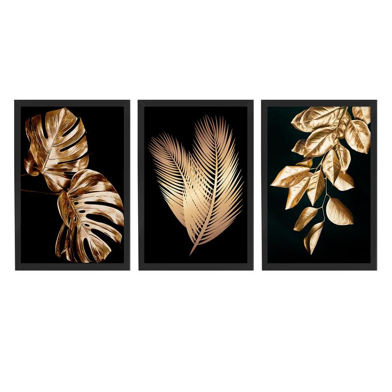 Kit 3 Quadros Decorativos Folhas Douradas Elegantes Sala