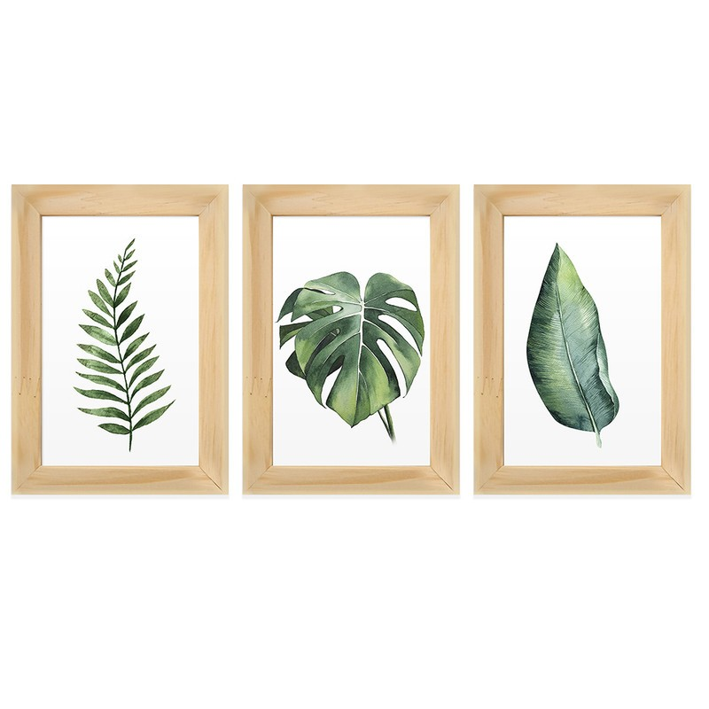 Kit 3 Quadros Decorativos Folhas Verdes Natureza 13X18