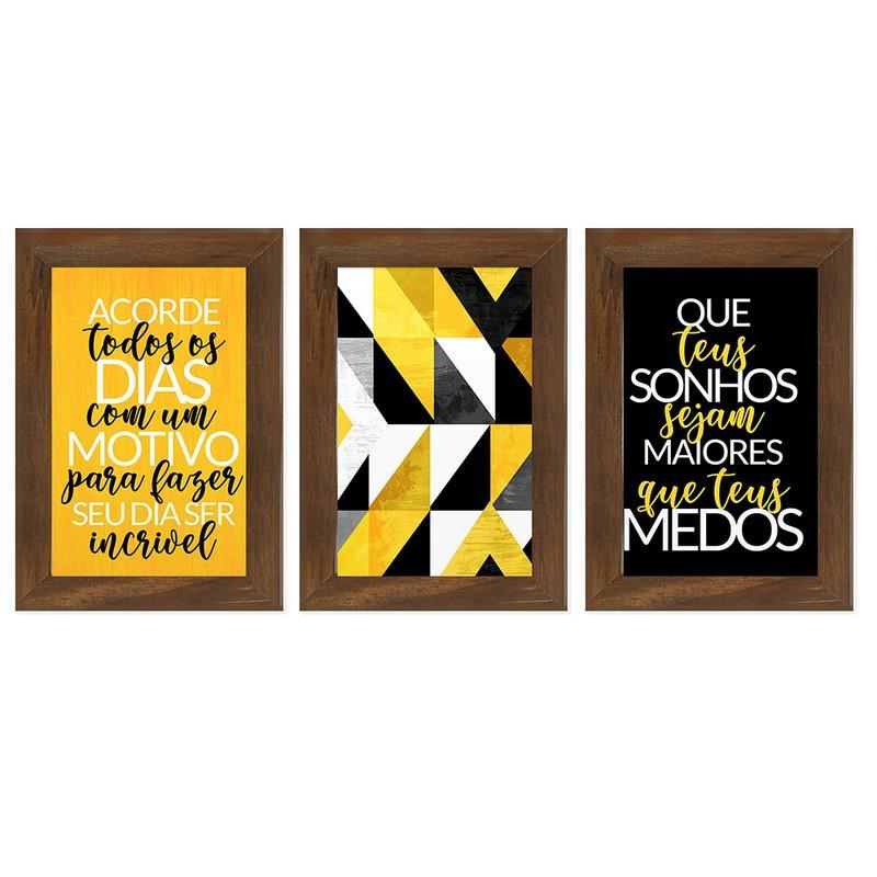 Kit 3 Quadros Decorativos Frase Motivação Sonhos 13X18