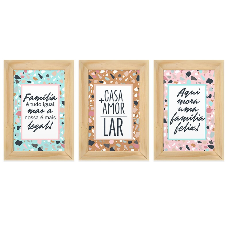 Kit 3 Quadros Decorativos Frases Amor Lar Família 13X18