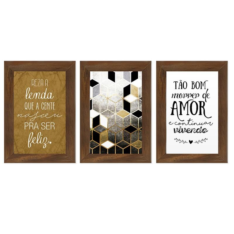 Kit 3 Quadros Decorativos Frases Amor Ser Feliz 13X18