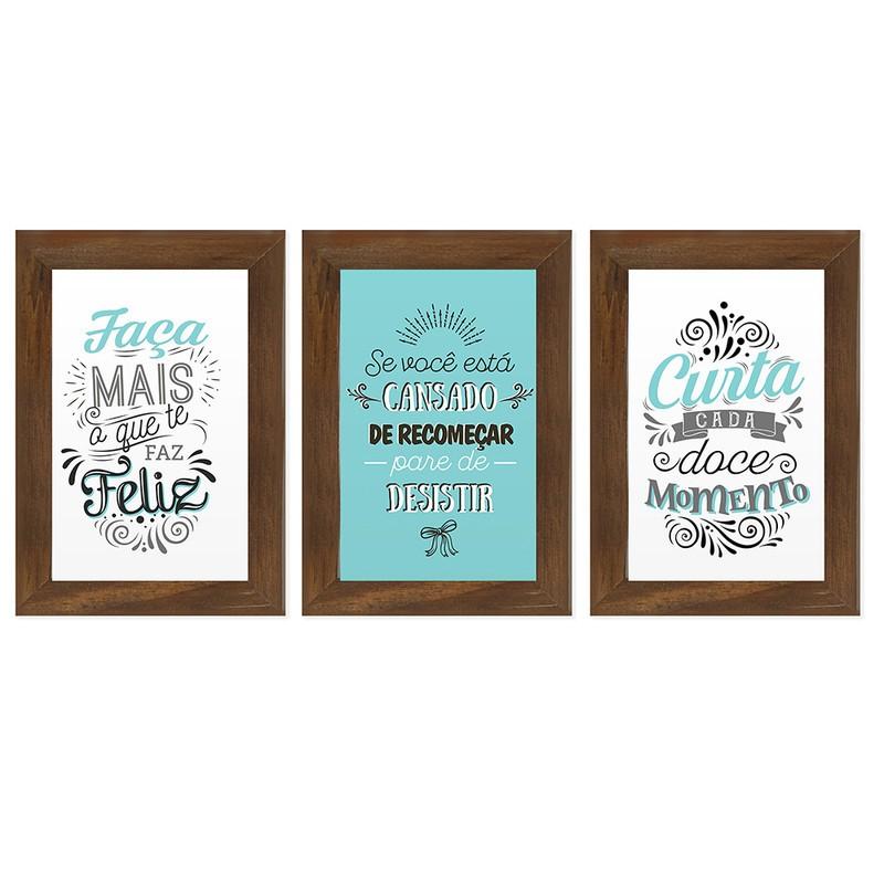 Kit 3 Quadros Decorativos Frases Motivação Curta a Vida 13X18