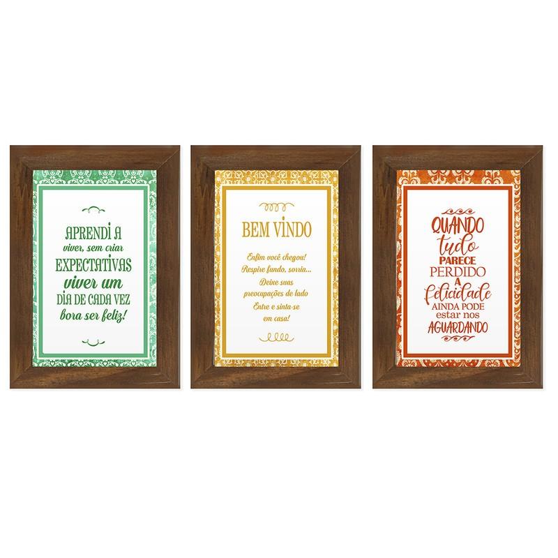 Kit 3 Quadros Decorativos Frases Ser Feliz 13X18