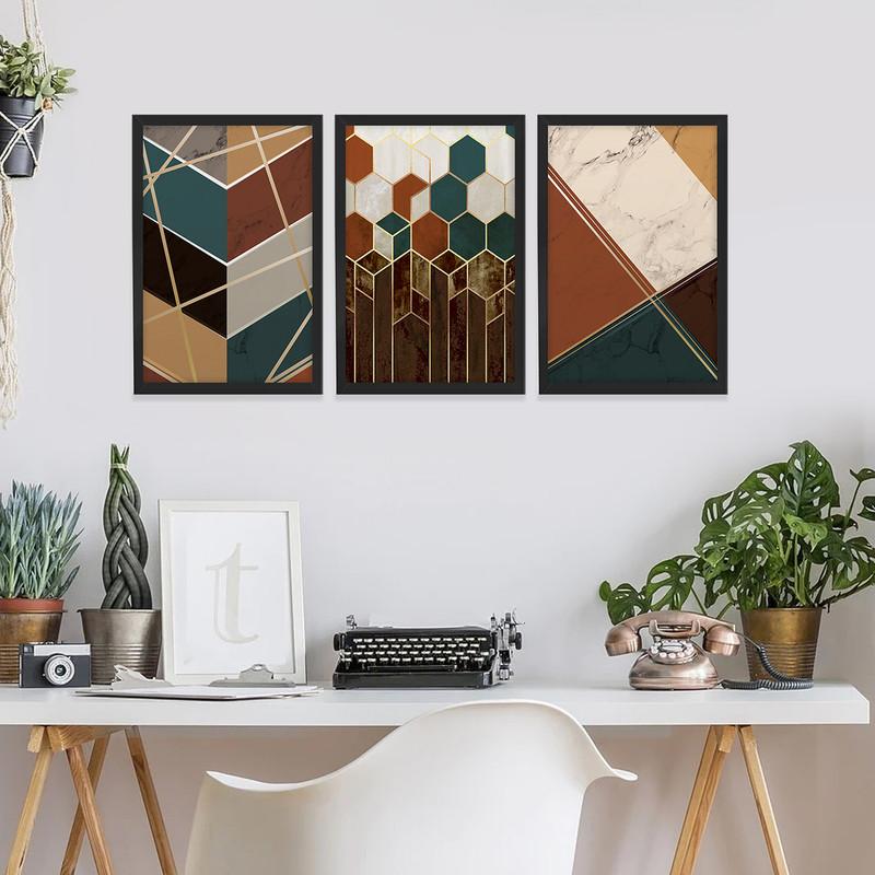 Kit 3 Quadros Decorativos Geométrico Elegante Escritório