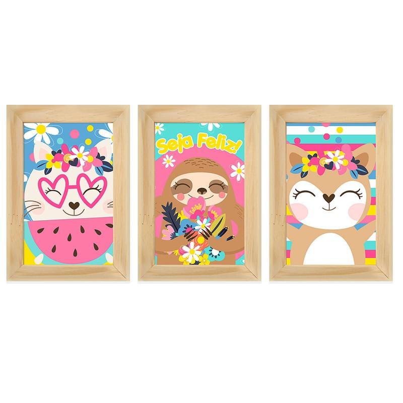 Kit 3 Quadros Decorativos Animais Fofos Quarto Infantil 13X18