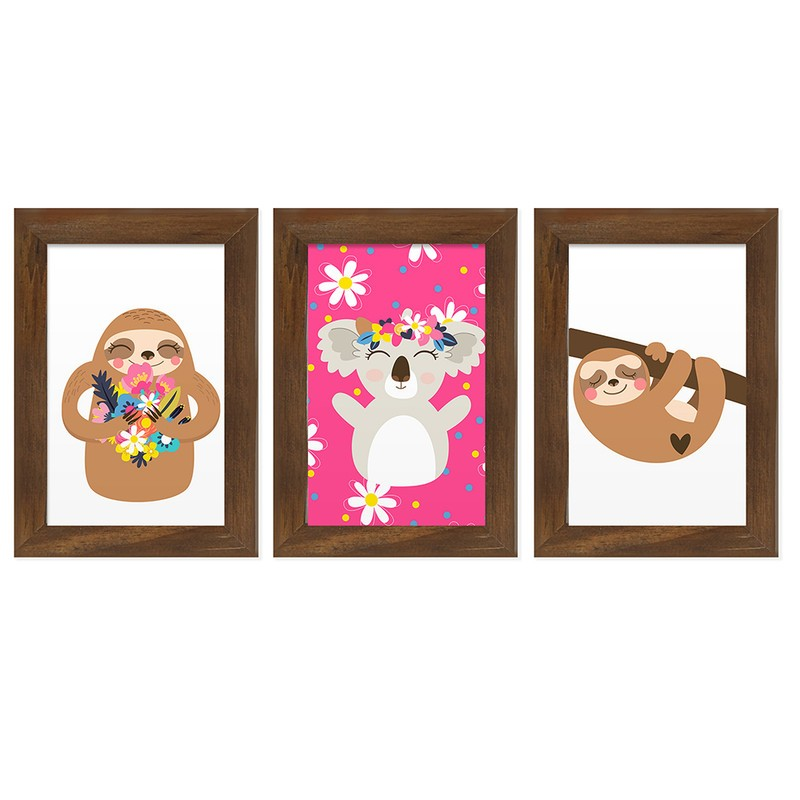Kit 3 Quadros Decorativos Infantil Animais Fofos 13X18