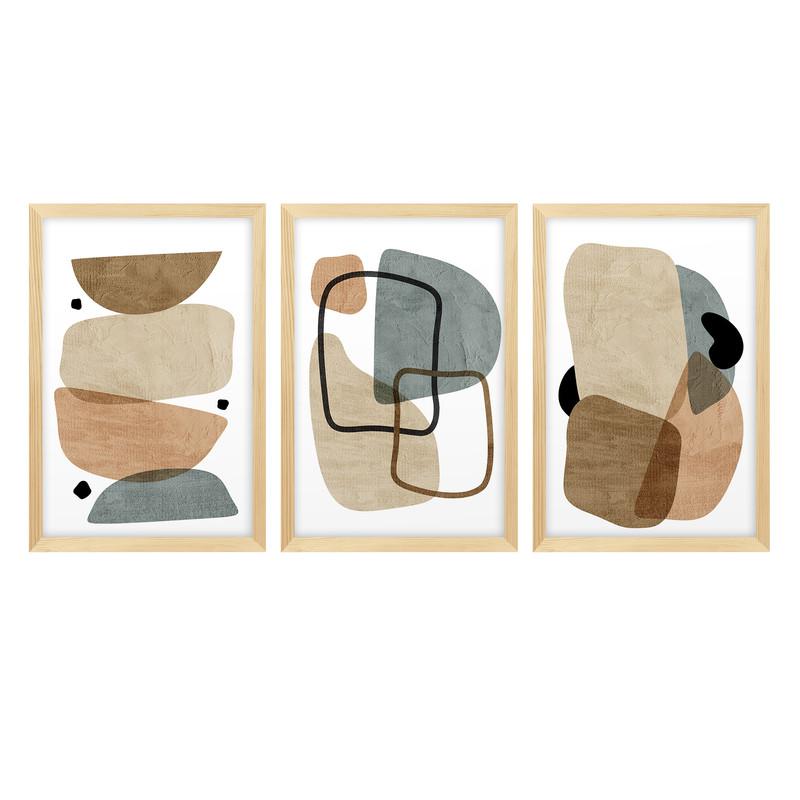 Kit 3 Quadros Decorativos Minimalista Moderno Escritório